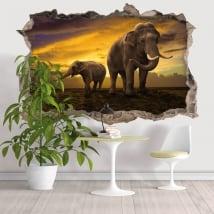 Vinilos agujero pared elefantes 3d