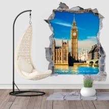 Vinilos agujero pared 3d big ben londres inglaterra