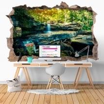Vinilos agujero pared cascada naturaleza 3d