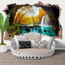 Vinilos agujero pared cascadas heo suwat tailandia 3d