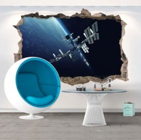 Vinilos agujero pared estación espacial 3d