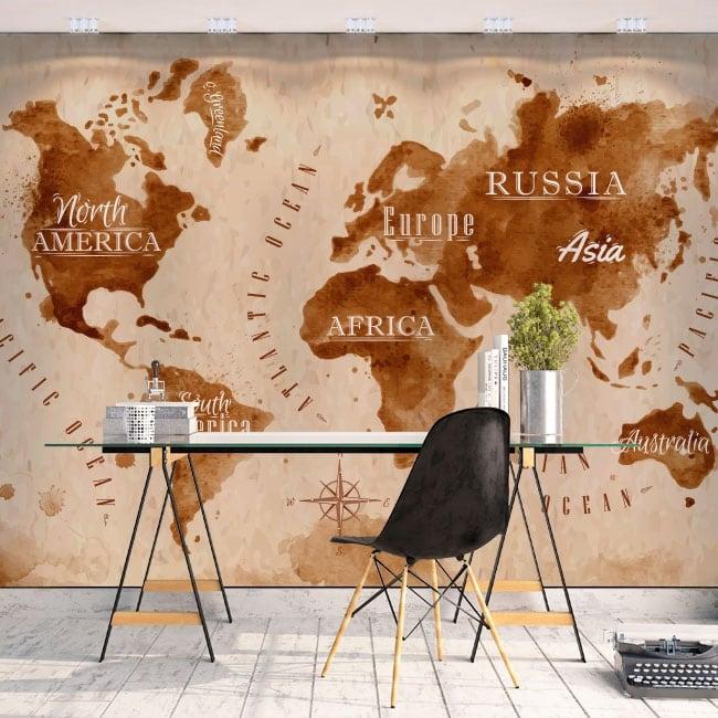 Fotomurales de vinilos mapamundi salpicaduras café