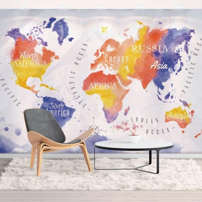 Murales vinilos mapamundi acuarela