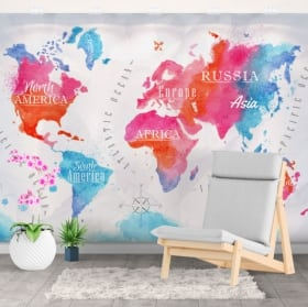 Fotomurales decorativos mapamundi acuarela