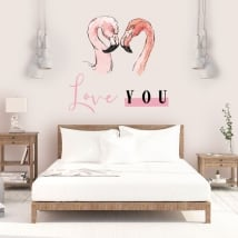 Vinilos adhesivos y pegatinas flamingos love you