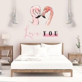 Vinilos adhesivos y pegatinas flamingos love you