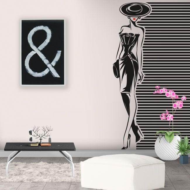 Vinilos y pegatinas para decorar silueta mujer