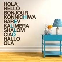 Vinilos y pegatinas hola en varios idiomas