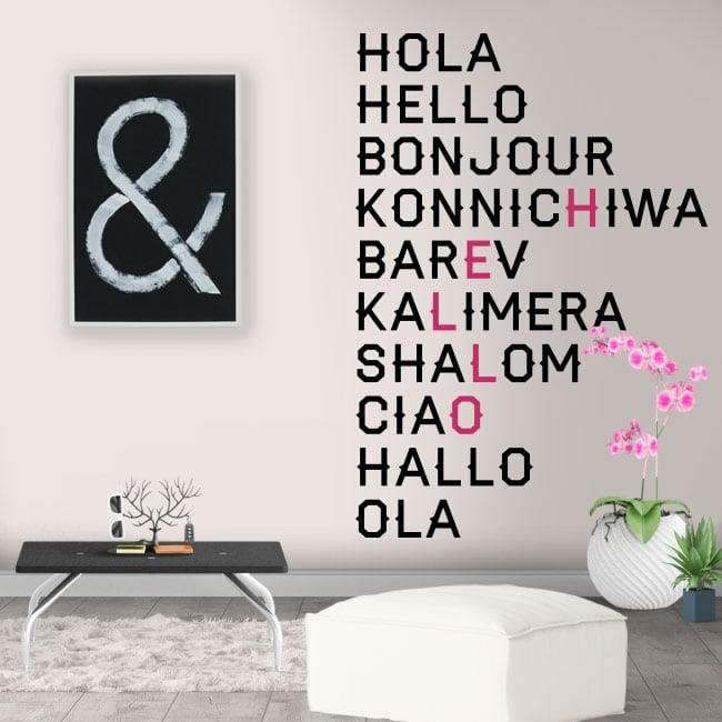 Vinilos decorativos hola en varios idiomas