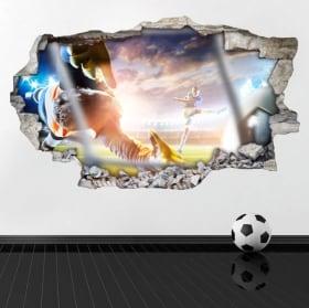 Vinilos Fútbol Pared Rota 3D