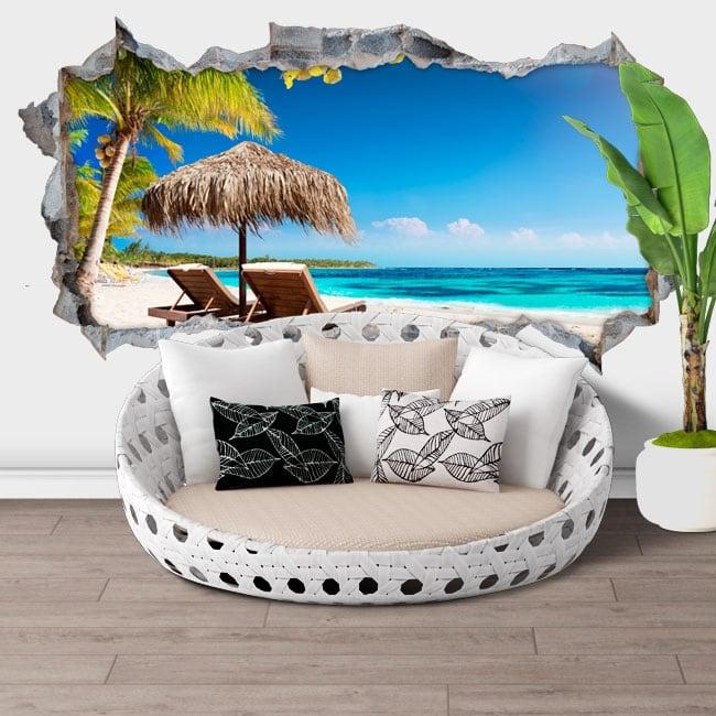 Vinilos de pared panorámica isla tropical 3d