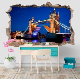 Vinilos agujero pared tower bridge london 3d