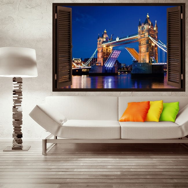 Vinilos y pegatinas ventana tower bridge london 3d
