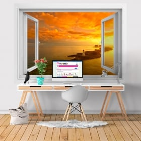 Vinilos paredes ventana faro en nasáu las bahamas 3d