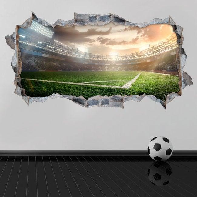 Vinilos agujero pared panorámica estadio de fútbol