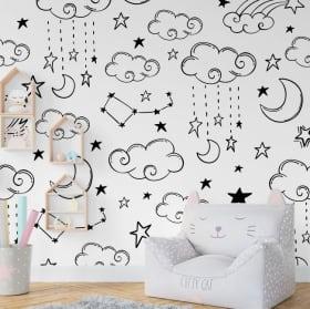 Fotomurales de vinilo luna nubes y estrellas
