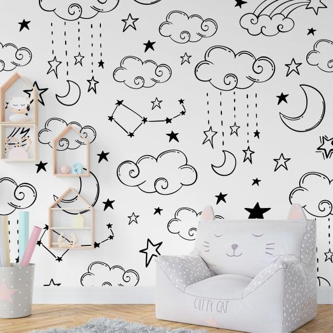 Fotomurales de vinilo luna nubes y estrellas for Fotomurales de vinilo