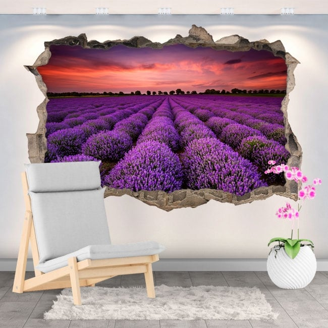 Vinilos y pegatinas atardecer en el campo de lavanda 3d