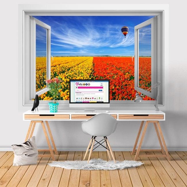 Vinilos paredes ventana globo y campo de flores 3d