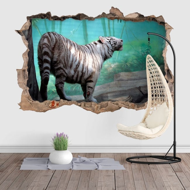 Vinilos y pegatinas agujero pared tigre blanco 3d