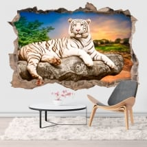 Vinilos agujero pared tigre blanco 3d