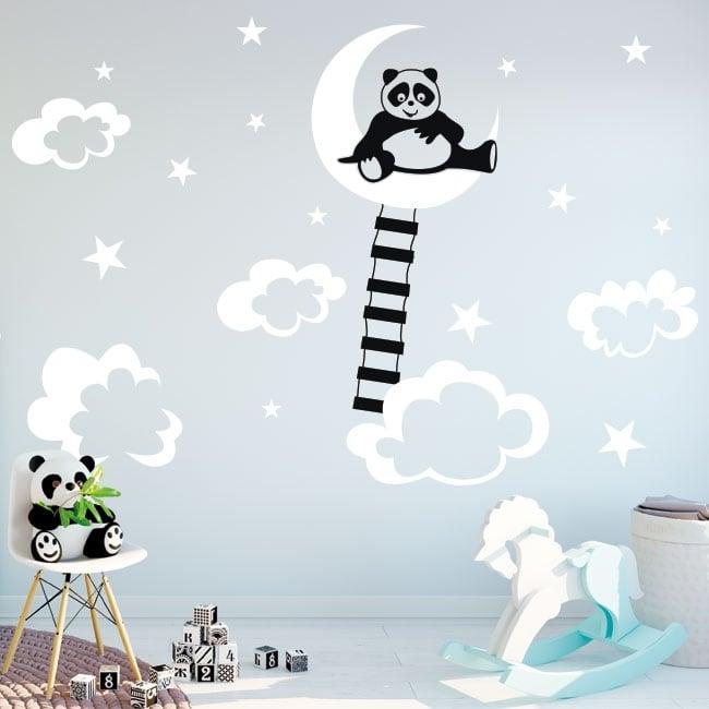 Vinilos y pegatinas infantiles oso panda en la luna