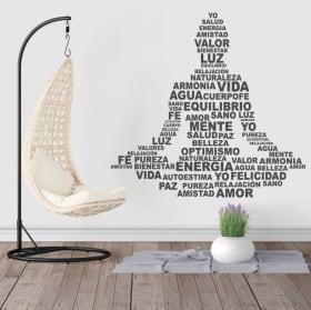 Vinilos decorativos silueta Buda texto