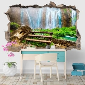 Vinilos agujero pared cascadas 3d