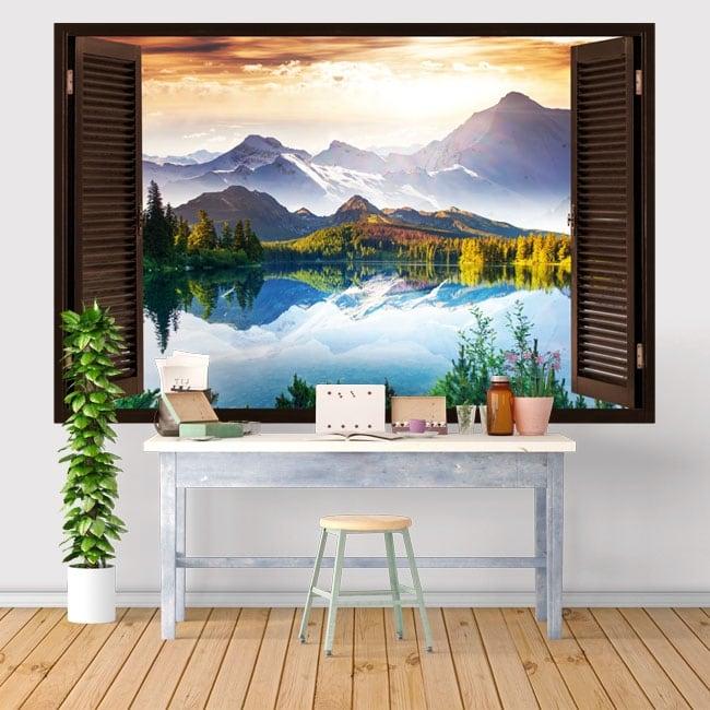 Vinilos y pegatinas ventana puesta de sol lago y montañas 3d