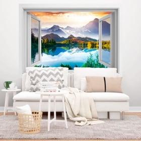 Vinilos ventanas puesta de sol lago y montañas 3d