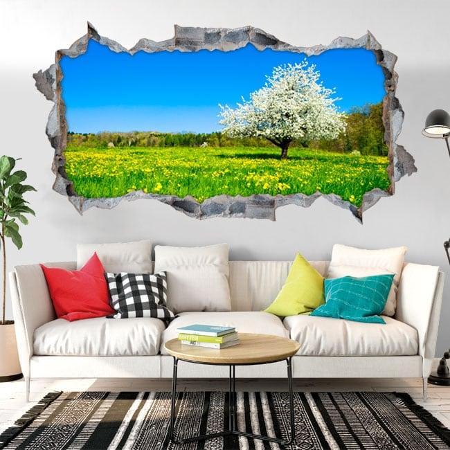 Vinilos agujero pared panorámica árbol flor de cerezo 3d