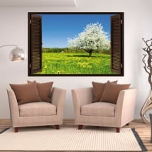 Vinilos ventana árbol flor de cerezo 3d