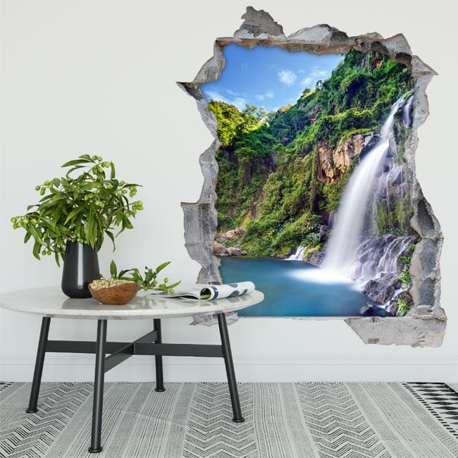 Vinilos agujero de pared cascadas basin des aigrettes réunion 3d