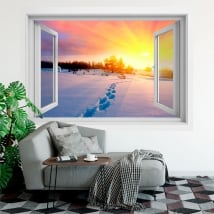 Vinilos ventana atardecer invierno en las montañas 3d