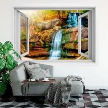 Vinilos y pegatinas ventana cascada 3d