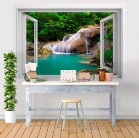 Vinilos ventanas cascada decoración paredes 3d