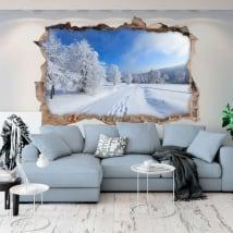Vinilos agujero pared naturaleza en invierno 3d