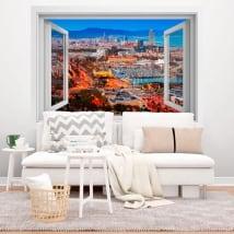 Vinilos ventanas ciudad de barcelona 3d