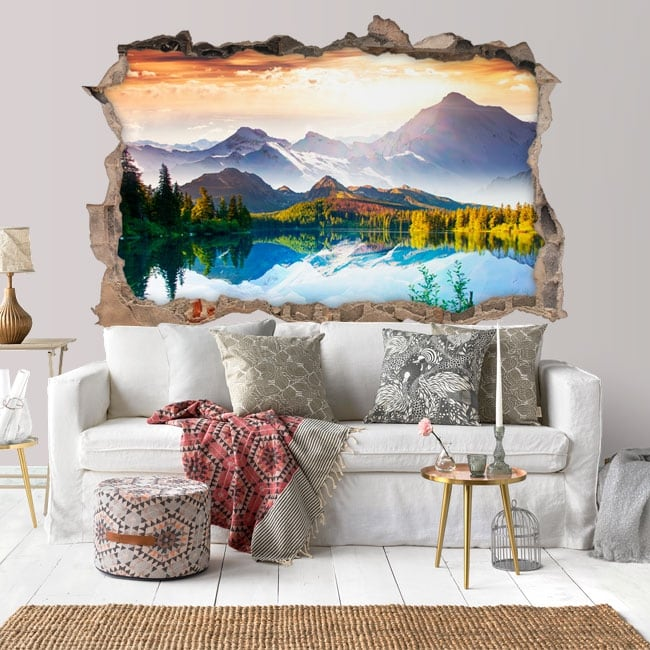 Vinilos agujero pared puesta de sol lago y montañas 3d
