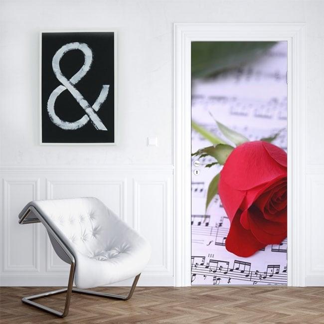 Vinilos para puertas rosa roja y pentagrama música