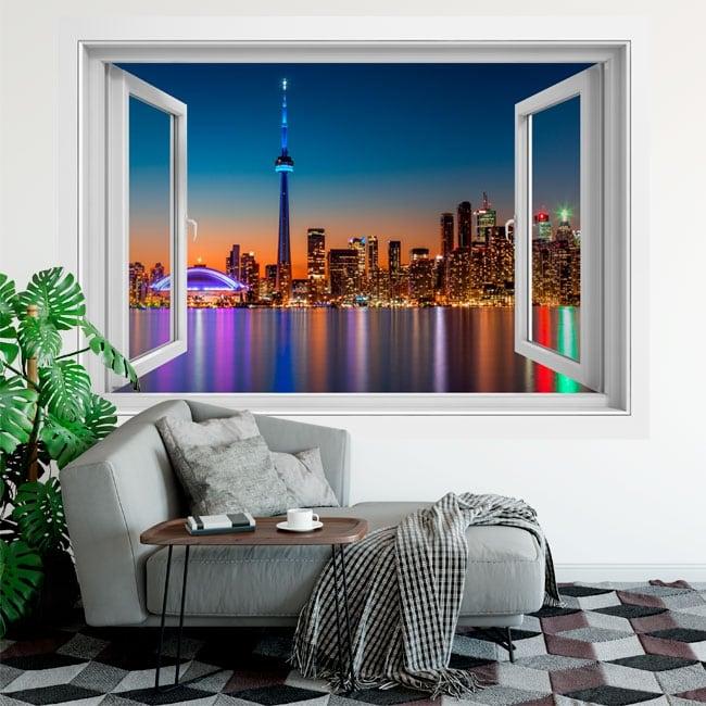 Vinilos ventanas canadá colores atardecer 3d