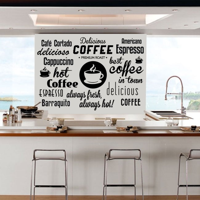Vinilos decorativos y pegatinas frases café