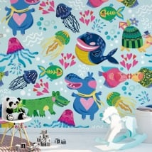 Fotomurales de vinilos infantiles animales para decorar