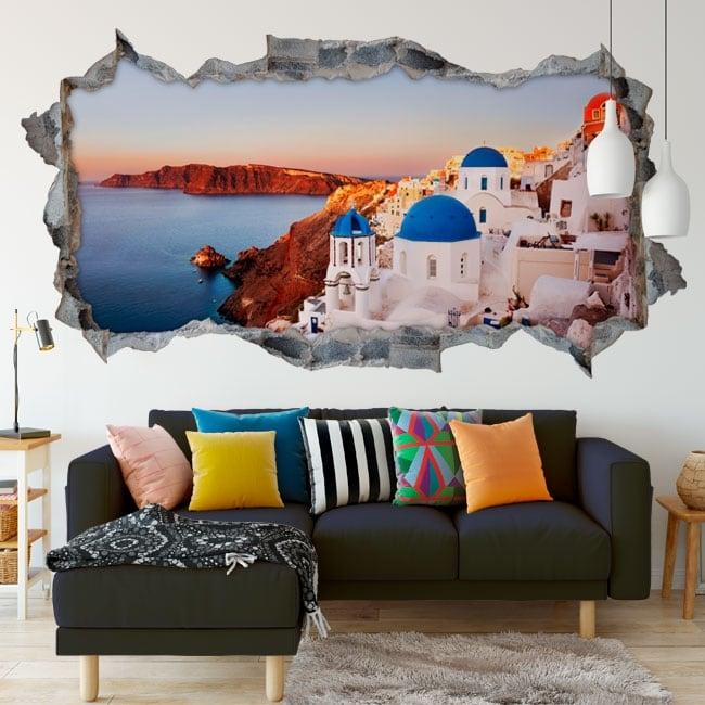 Vinilos panorámica santorini isla de grecia 3d