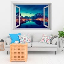 Vinilos ventanas atardecer en reine noruega 3d
