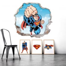 Vinilos agujero pared superman 3d
