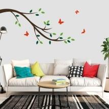 Vinilos decorativos rama de árbol y mariposas