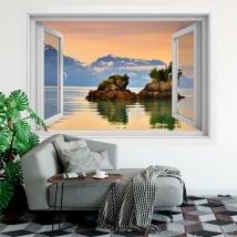 Vinilos ventana cascada naturaleza 3d