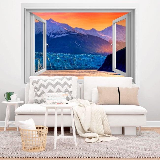Vinilos ventanas atardecer en alaska 3d