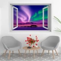 Vinilos ventanas aurora boreal o polar 3d